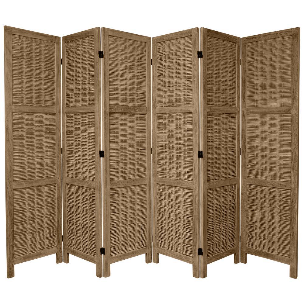 Oriental Furniture 6 Ft Burnt Grey Matchstick Panel Room Divider