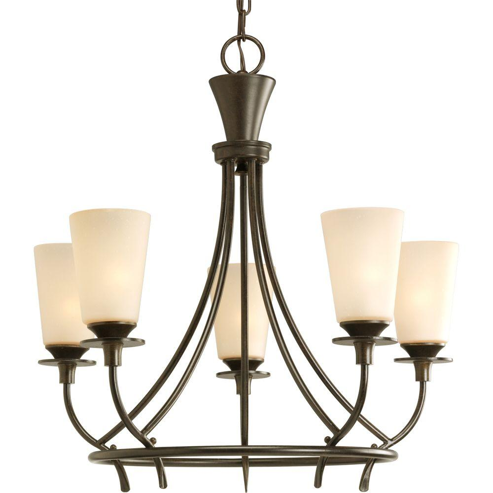 Progress Lighting Cantata Collection 5-Light Forged Bronze Chandelier with Seeded Topaz Glass Shade
