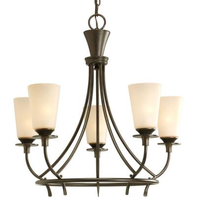 Cantata Collection 5-Light Forged Bronze Chandelier with Seeded Topaz Glass Shade