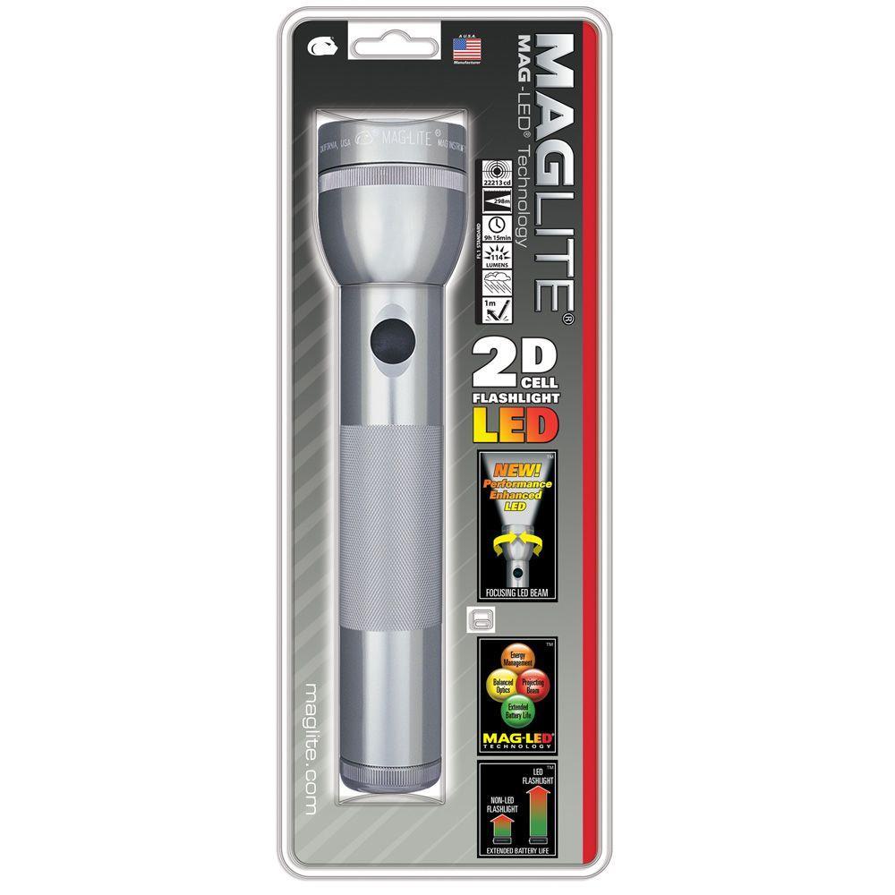 maglite gray led 2d flashlight st2d096 the home depot. Black Bedroom Furniture Sets. Home Design Ideas