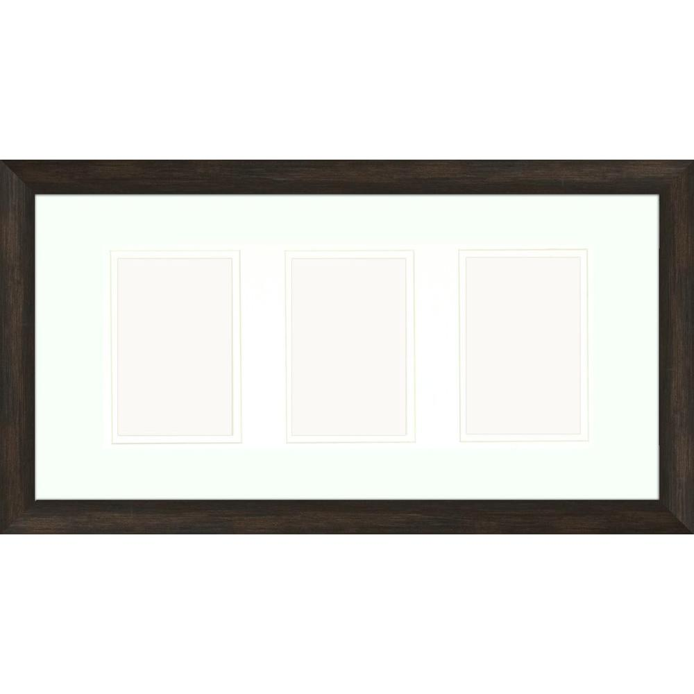 3-Opening 4 in. x 6 in. Matted Brown Photo Collage Frame