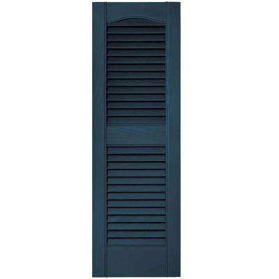 12 in. x 36 in. Louvered Vinyl Exterior Shutters Pair #036 Classic Blue