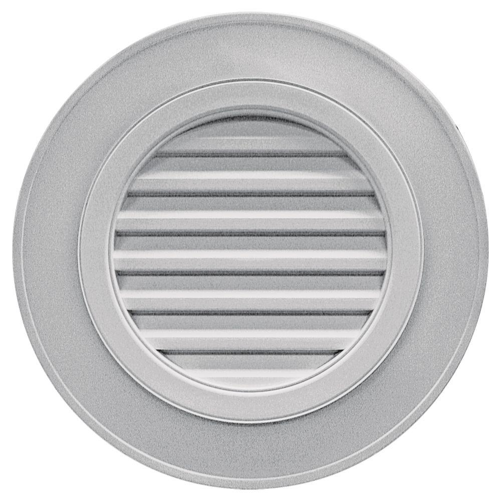 Builders Edge 28 in. Round Gable Vent in Gray (without Keystones)