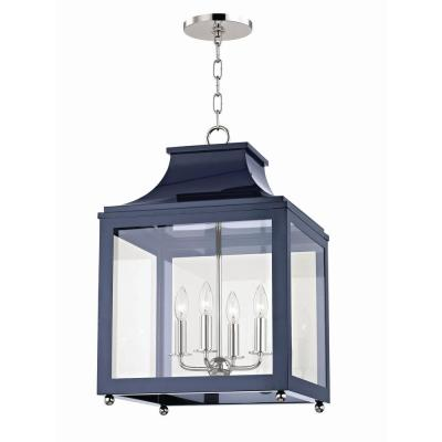 Leigh 4-Light 16 in. W Polished Nickel/Navy Pendant with Clear Glass Panel