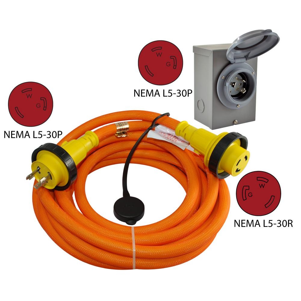 10 3 Extension Cord Wiresouthwire Outdoor 12 V 15a Wiring A Conntek 25 Ft Duo Rainseal Kit 30 Amp Prong L5 30p