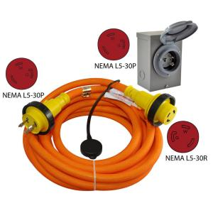 Conntek 25 ft. 10/3 DUO-RainSeal Kit 30 Amp 3-Prong L5-30P Transfer Switch/Generator Extension Cord with Power Inlet Box by Conntek