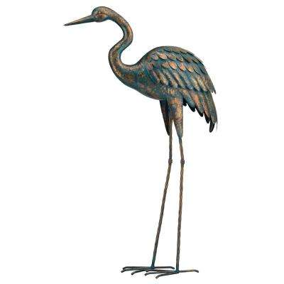 Large 44 in. Metallic Patina Crane Garden Statuary