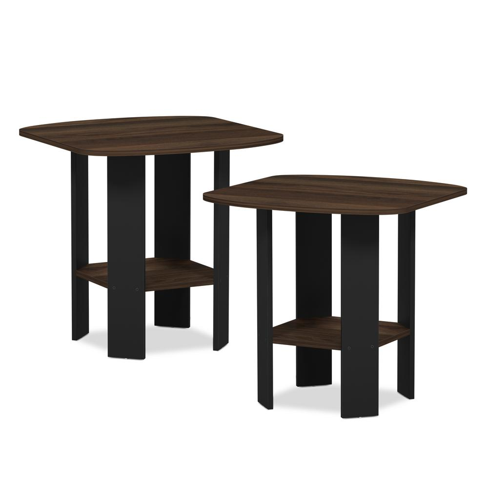 Simple Design 19.6 in. Columbia Walnut End Table (2-Set)
