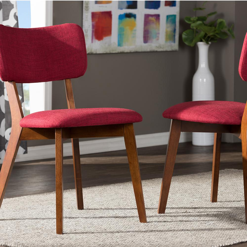 Baxton studio monaco red fabric upholstered dining chairs for Red upholstered dining chair