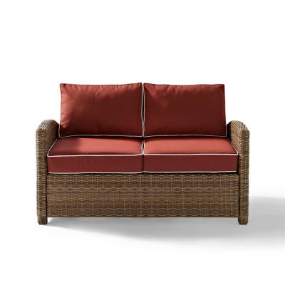 Bradenton Wicker Outdoor Loveseat with Sangria Cushions