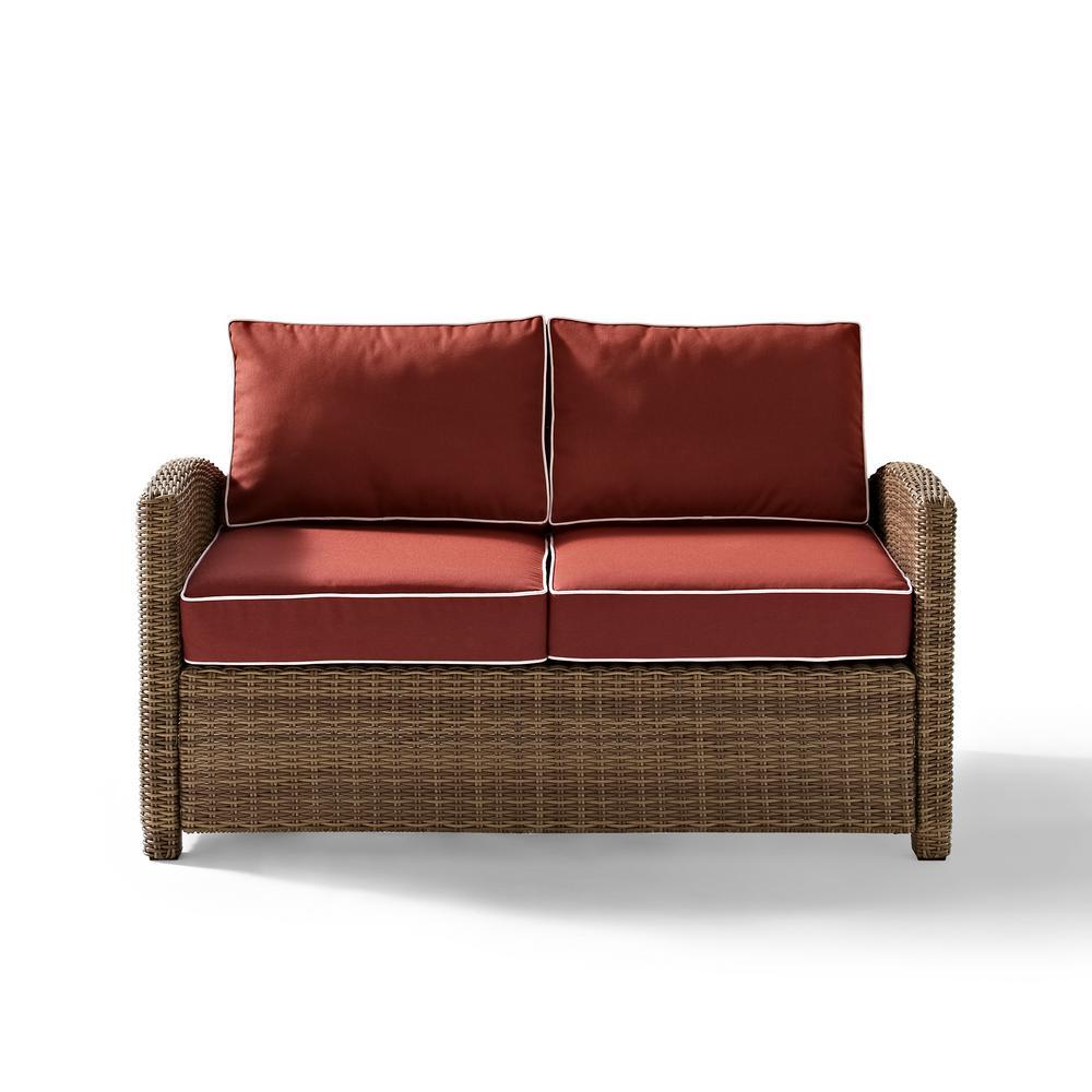 Bradenton Wicker Outdoor Loveseat with Sangria Cushions