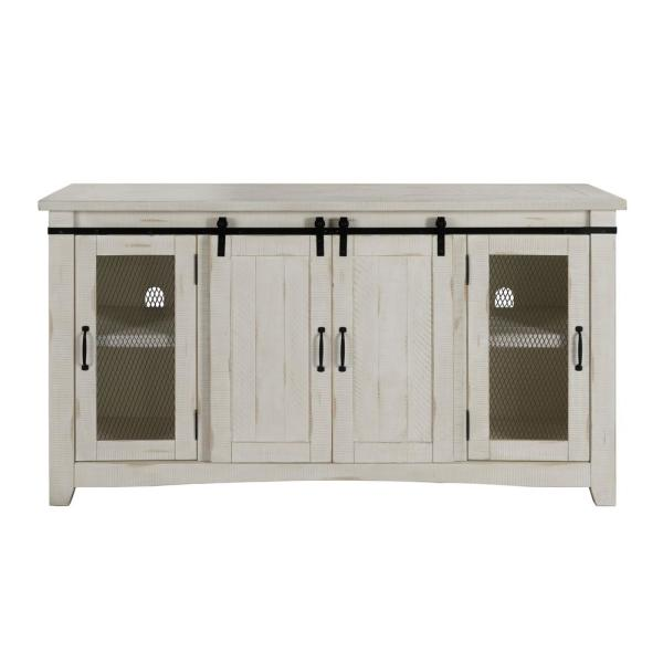Rustic White Metal TV Stand Fits Fits TVs Up to 70 in. with Adjustable Shelves