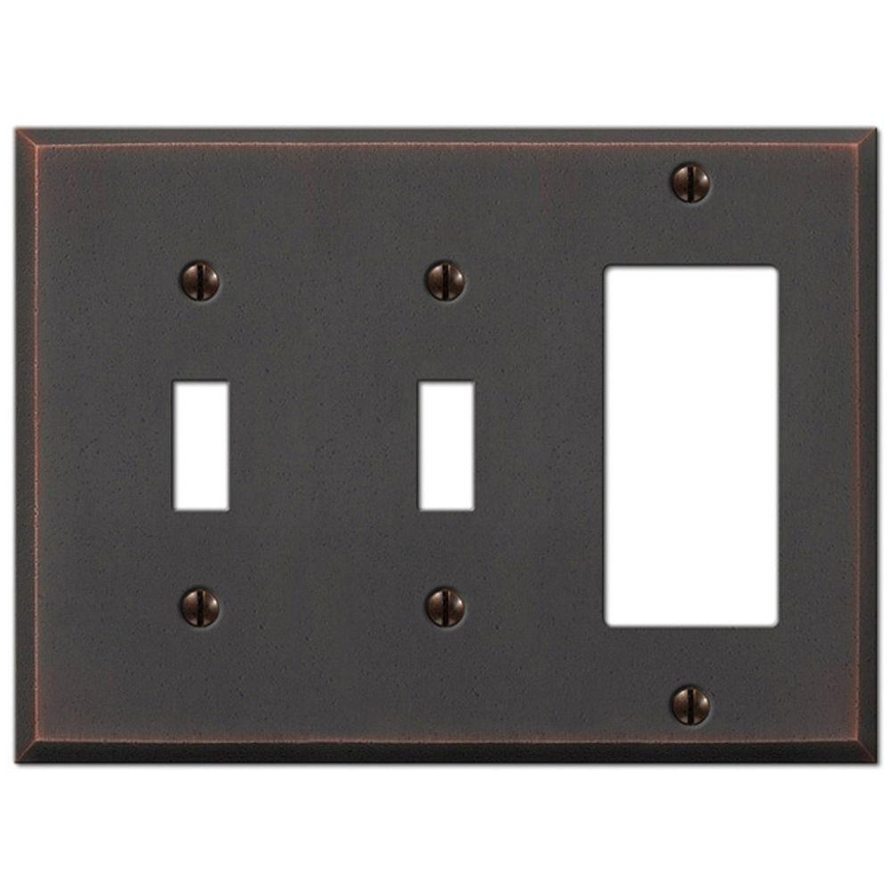 Amerelle Manhattan 2 Toggle And 1 Decora Wall Plate Aged