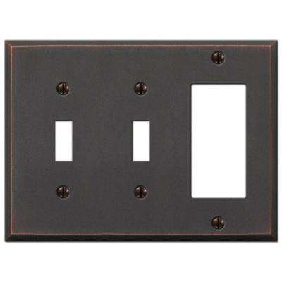 Manhattan 2 Toggle and 1 Decora Wall Plate - Aged Bronze