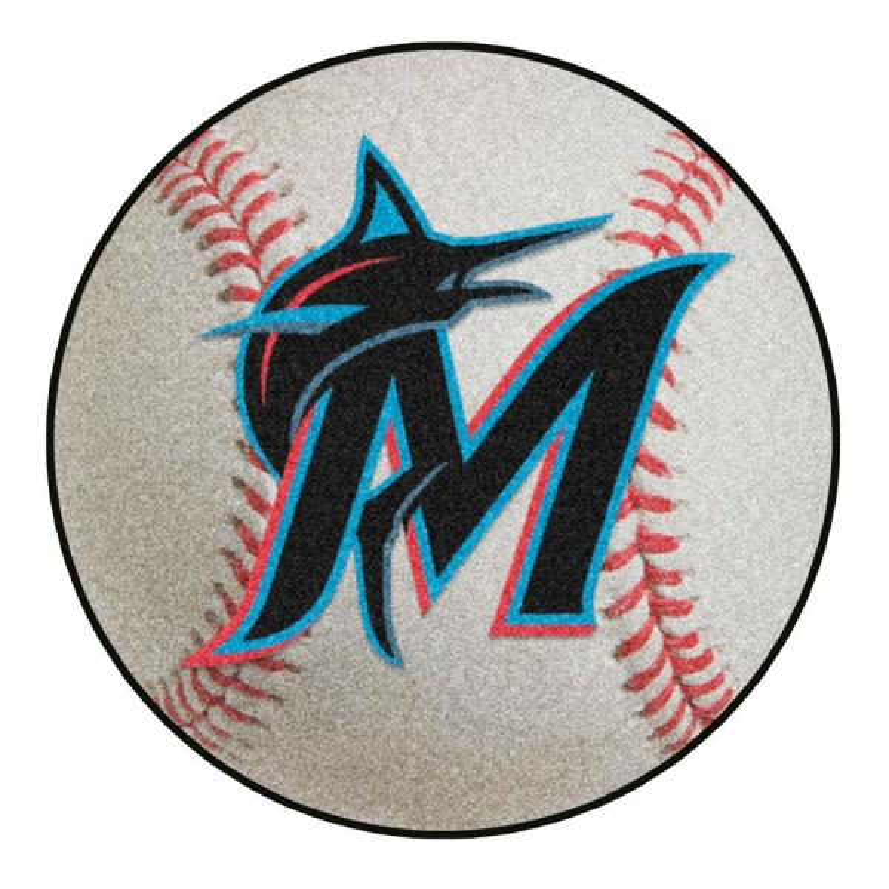 MLB Miami Marlins Photorealistic 27 in. Round Baseball Mat
