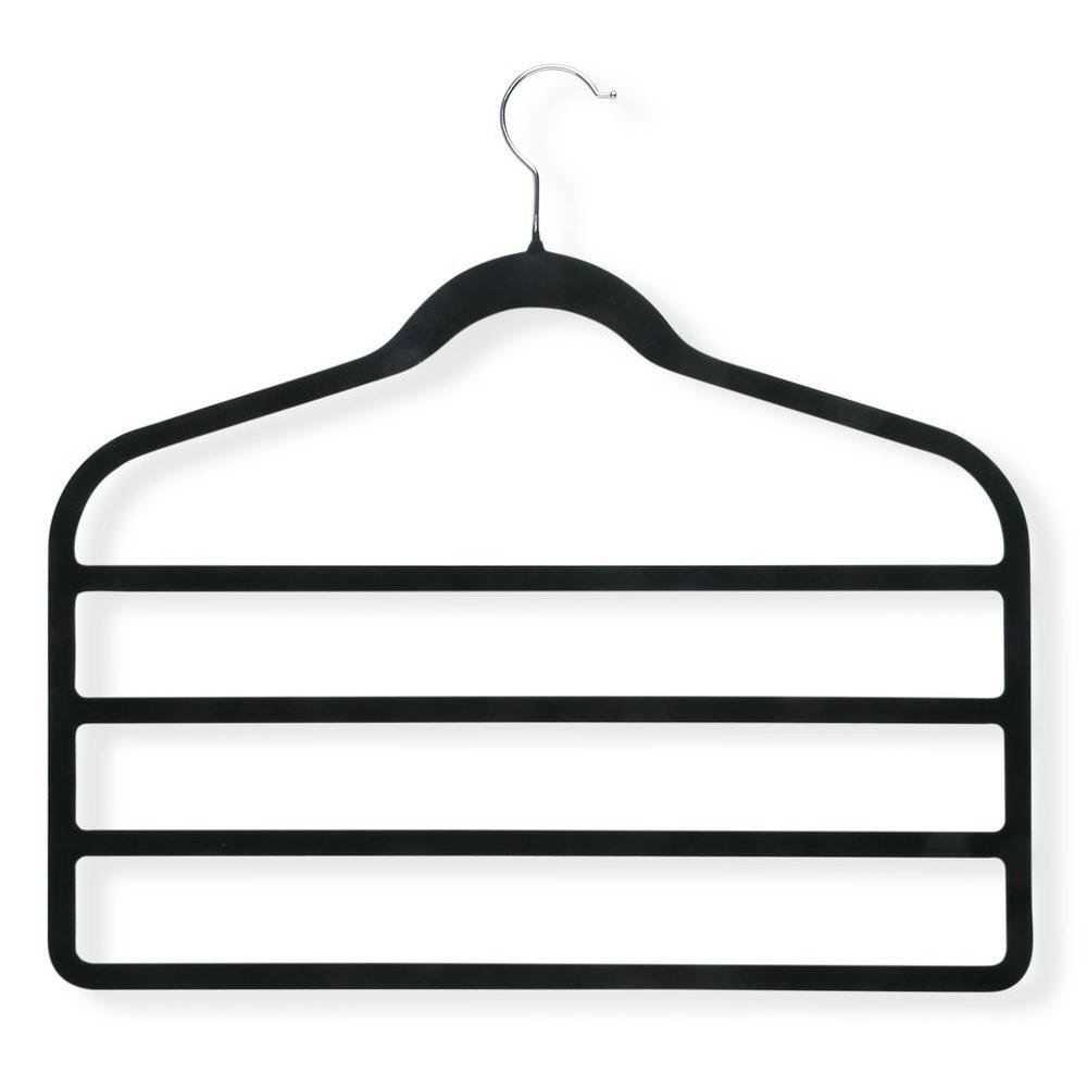Honey-Can-Do Velvet Touch Black 4-Step Hanger (4-Pack)
