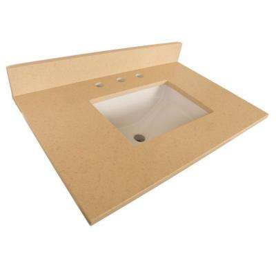 Ripon 32 in. W x 22 in. D Quartz Single Basin Vanity Top in Beige with White Basin