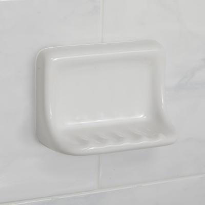 Restore 6 in. x 3 in. x 4 in. Glazed Ceramic Soap Dish in Bright White