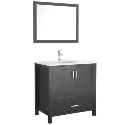 Amaya 36 in. Bathroom Vanity in Espresso with Marble Vanity Top in Cararra White with White Ceramic Basin and Mirror