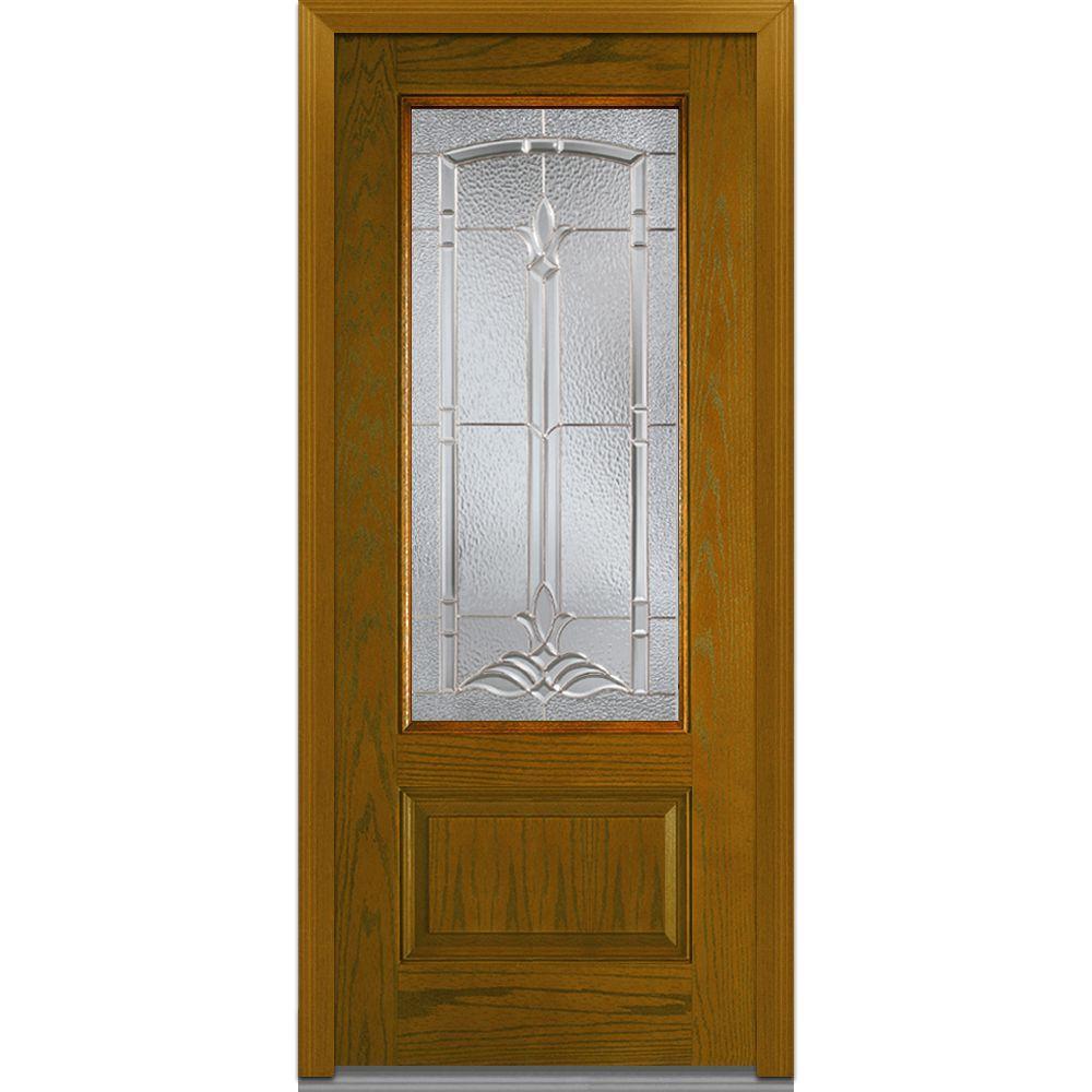Mmi door 36 in x 80 in bristol right hand inswing 3 4 lite decorative 1 panel stained for 36 x 80 fiberglass exterior door