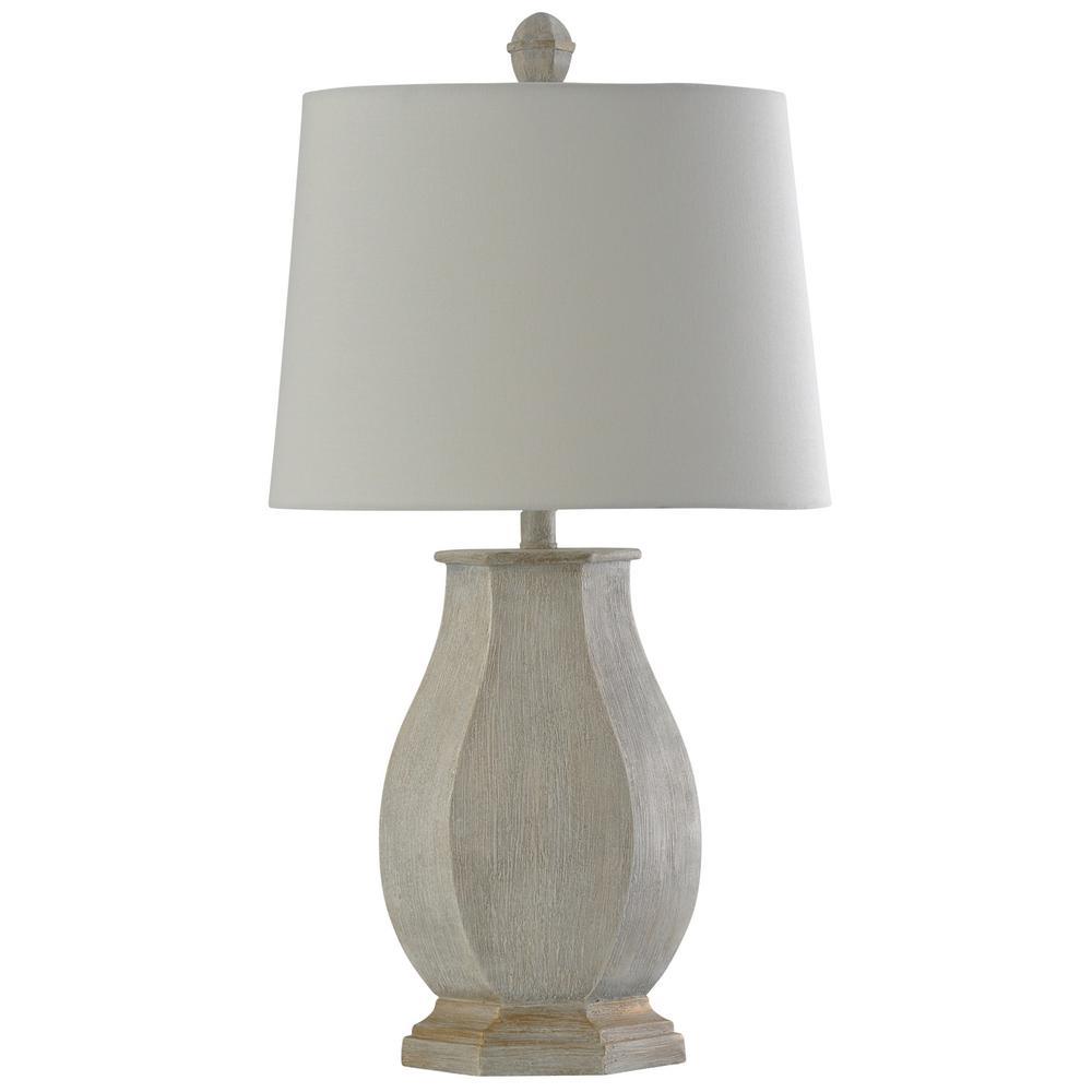 30 in. Basilica Sky Table Lamp with White Hardback Fabric Shade