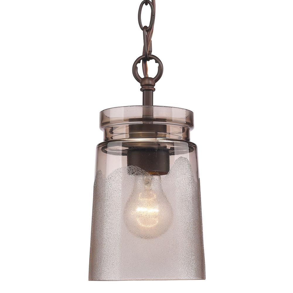 on sale 69f6c 4edeb Golden Lighting Travers 1-Light Rubbed Bronze Pendant
