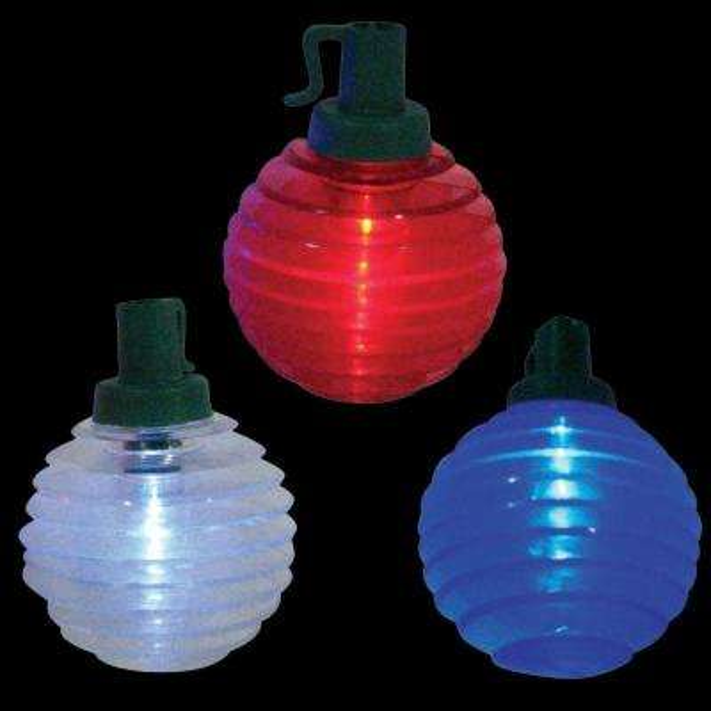 Battery Operated 10-Light Patriotic Shimmer Globe Red/White/Blue LED Light Set (Set of 2)