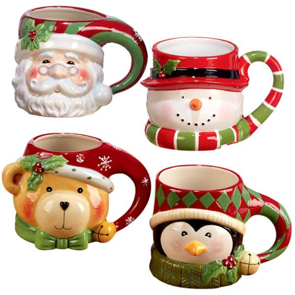 Christmas Mugs.3 D 18 Oz Multi Colored Christmas Mug Set Of 4