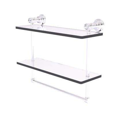 Carolina Crystal 16 in. Double Glass Shelf with Towel Bar in Polished Chrome