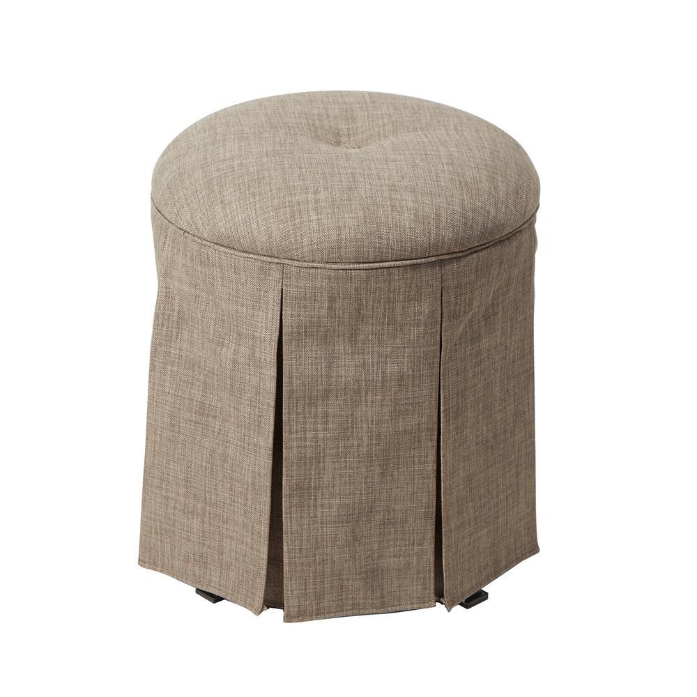 Emmeline Gray Upholstered Backless Vanity Stool