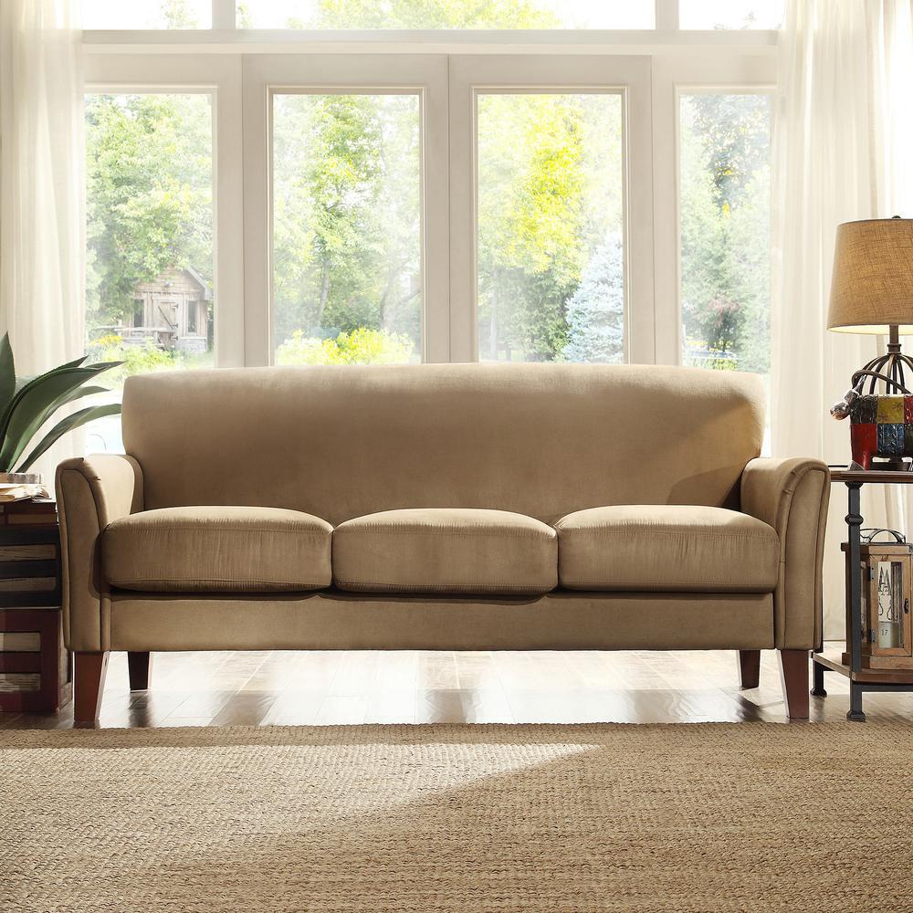 HomeSullivan Peat Microfiber Sofa