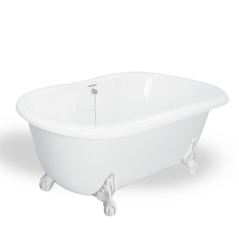 American Bath Factory 60 in. AcraStone Double Clawfoot Non-Whirlpool ...