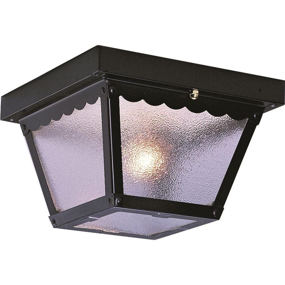 2-Light Outdoor Black Flush Mount Ceiling Fixture