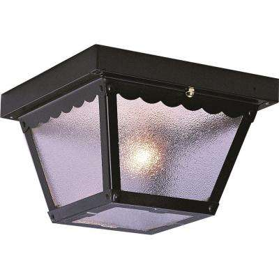 2-Light Outdoor Black Flush Mount Ceiling Fixture