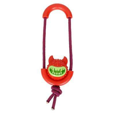 Red Sling-Away Treat Dispensing Launcher with Natural Jute, Squeak Rubberized Dog Toy