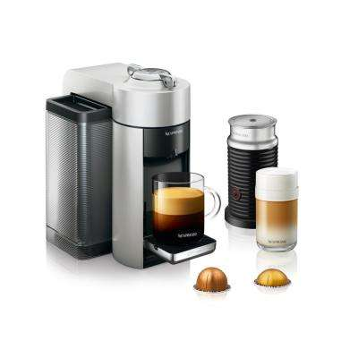 Nespresso Vertuo Single Serve Coffee and Espresso Machine by De'Longhi with Aeroccino in Silver