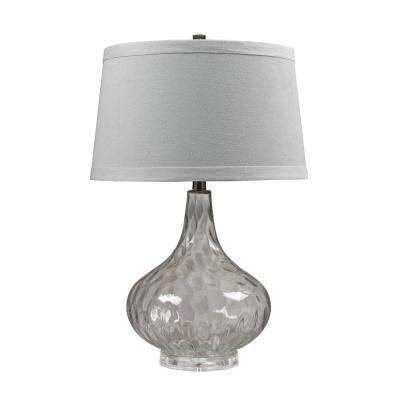 24 in. Clear Water Glass Table Lamp with White Linen Shade