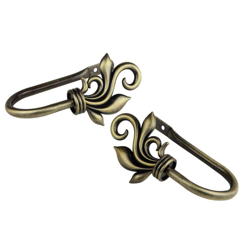 Delilah Decorative Holdback Pair in Antique Brass