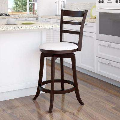 Woodgrove 25 in. Counter Height Wood Swivel Barstools with White Leatherette Seat and 3-Slat Backrest