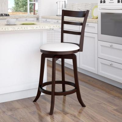 Woodgrove 25 in. Counter Height Wood Swivel Bar Stools with White Leatherette Seat and 3-Slat Backrest