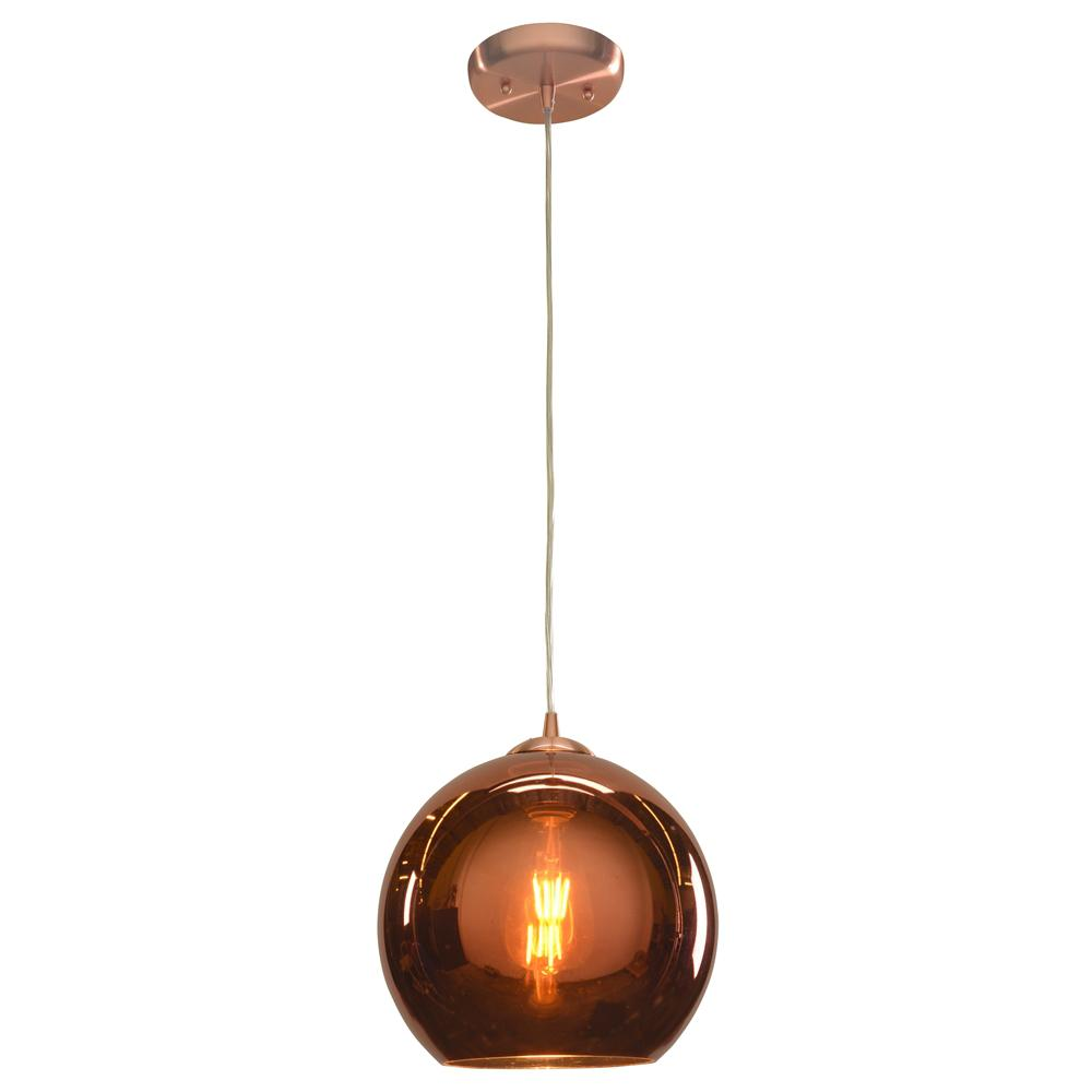 Access Lighting Glow 10 in. 1-Light Brushed Copper Pendant with Copper Glass Shade