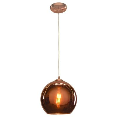 Glow 10 in. 1-Light Brushed Copper Pendant with Copper Glass Shade