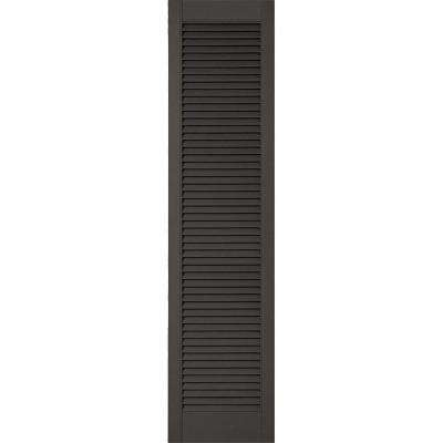 18 in. x 60 in. Lifetime Vinyl Custom Straight Top All Open Louvered Shutters Pair Tuxedo Grey