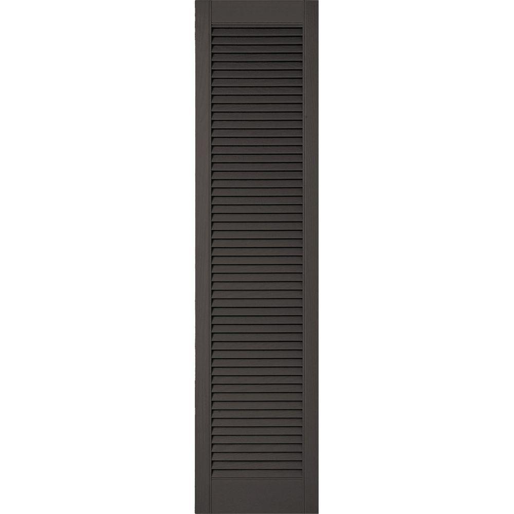 All Guard Shutters ekena millwork 18 in. x 50 in. lifetime vinyl custom straight top all open  louvered shutters pair tuxedo grey