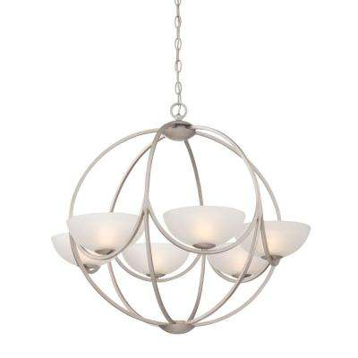 Carlucci 6-Light Linear Silver Chandelier with Ivory White Shade