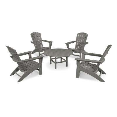 Grant Park Slate Grey 5-Piece Plastic Traditional Curveback Adirondack Patio Conversation Set