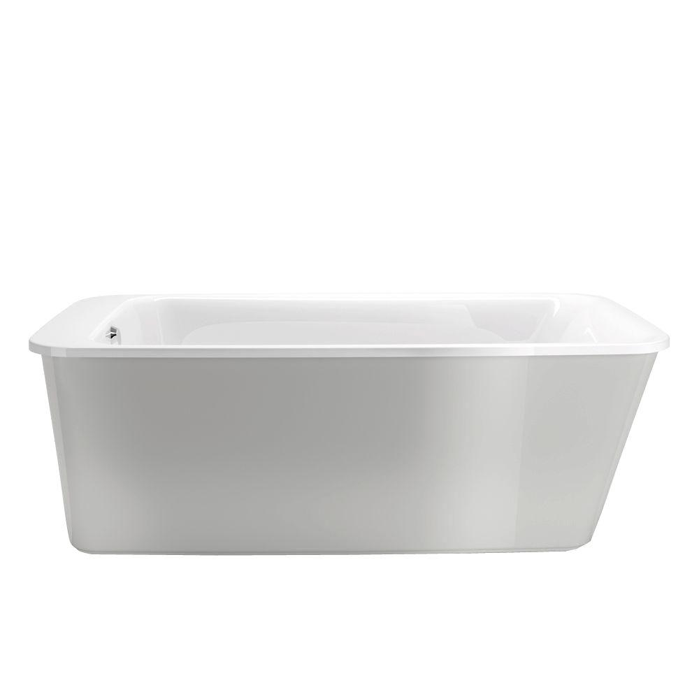 MAAX Lounge 5.3 ft. Freestanding Reversible Drain Bathtub in White with Platinum Grey Apron