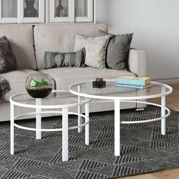 Meyer Cross Gaia 2 Piece 36 In White Medium Round Glass Coffee Table Set With Nesting Tables Ct0202 The Home Depot