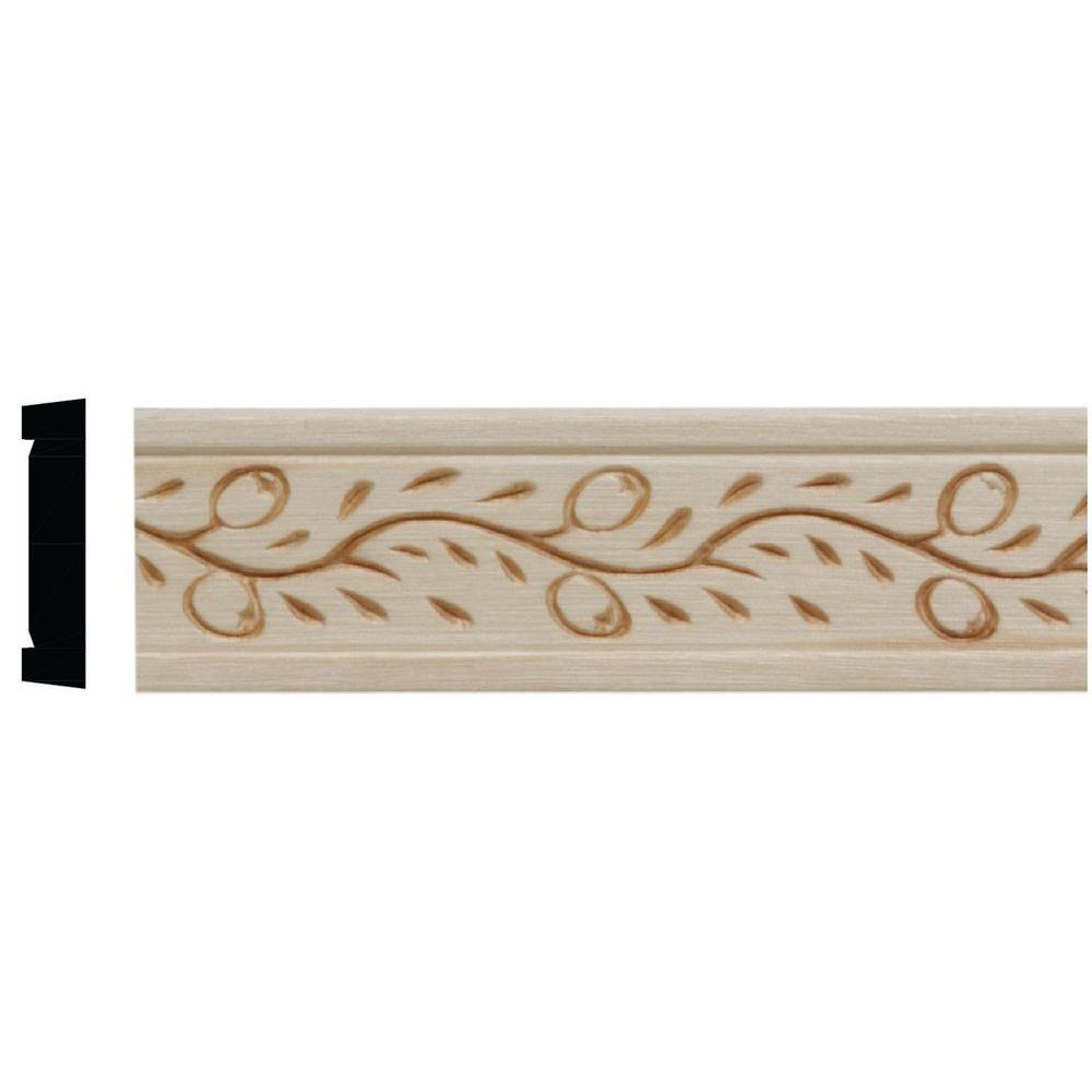 7/32 in. x 1 in. x 96 in. White Hardwood Embossed Vine Moulding