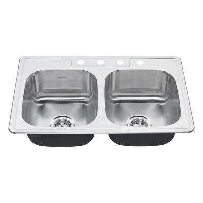 Colony Pro Drop-In Stainless Steel 33 in. 4-Hole Double Basin Kitchen Sink Kit